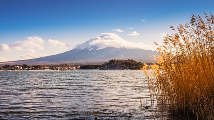 View of Fuji Mountain from Kawagichiko Lake in winter, Yamanashi, Japan.