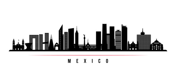 Mexico city skyline horizontal banner. Black and white silhouette of Mexico city. Vector template for your design. Papier Peint