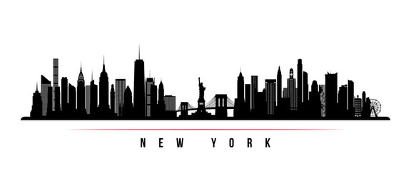 New York city skyline horizontal banner. Black and white silhouette of New York city, USA. Vector template for your design. Wall mural