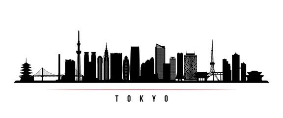 Tokyo city skyline horizontal banner. Black and white silhouette of Tokyo city, Japan. Vector template for your design.