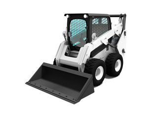 White loader with territory cleaning scoop 3d render on white background with shadow