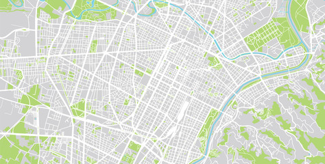 Urban vector city map of Turin, Italy