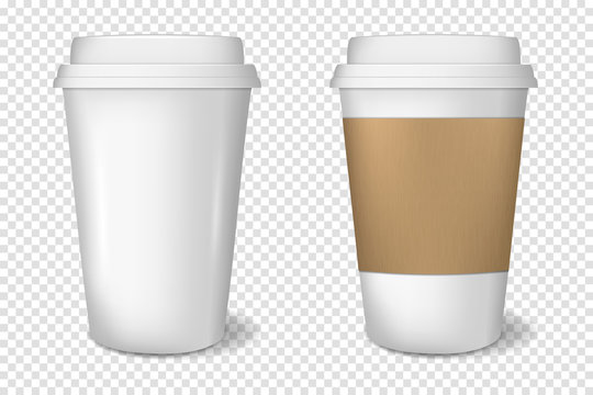 white paper cup isolated on transparent background