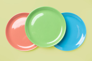 Blue, green and rose pastel colored plates