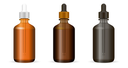 Dropper bottles set for cosmetics or medicine needs. Realistic transparent vector illustration. Isolated.