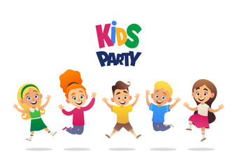 Kids party cartoon background with funny company of boys and girls vector illustration
