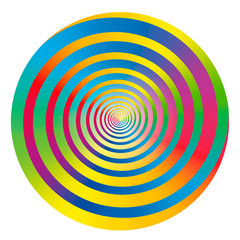 Rainbow colored gradient spiral and circle. Isolated vector illustration on white background.