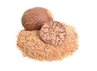 Fototapeta Nutmeg, fragrant nutmeg or true nutmeg. Isolated on white background obraz
