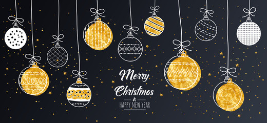 Merry Christmas greeting card gold with modern baubles. Vector illustration.