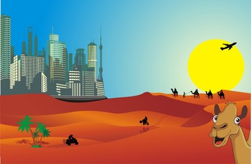 The landscape of the city in the desert in vector