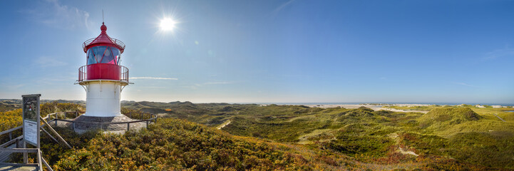 Canvas Prints North Sea Panorama kleiner Leuchttum auf Insel Amrum
