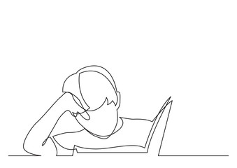 Wall Mural - continuous line drawing of boy reading book