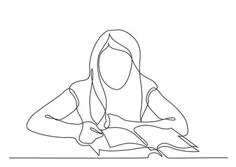 Wall Mural - continuous line drawing of girl reading book