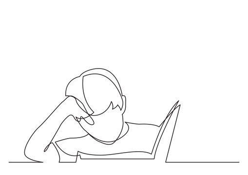 continuous line drawing of boy reading book
