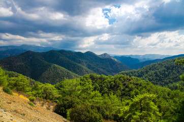 Panoramic top view of Troodos mountains range, Cyprus