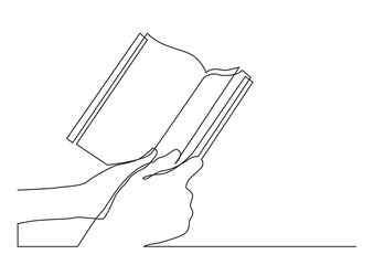 Wall Mural - continuous line drawing of two hands holding book