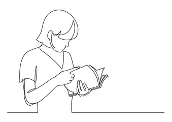 Wall Mural - continuous line drawing of standing young woman reading book