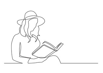 Wall Mural - continuous line drawing of woman in hat reading book