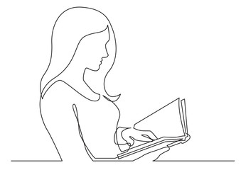 Wall Mural - continuous line drawing of woman reading book