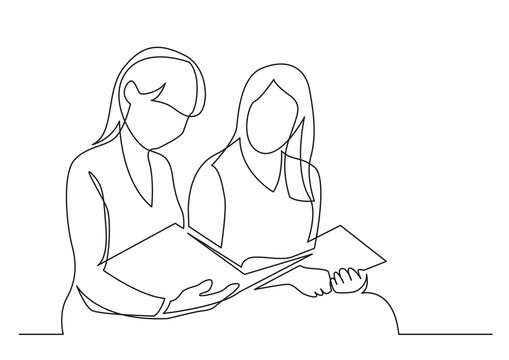 continuous line drawing of two young women reading book