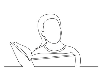 Wall Mural - continuous line drawing of woman studying reading book