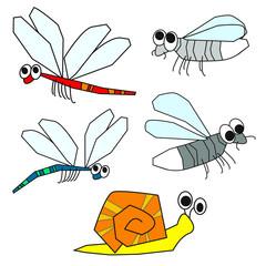 Libelle - Glühwürmchen - Schnecke Cartoon