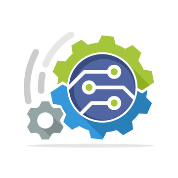 Vector icon illustration with the concept of work processes with advanced technology