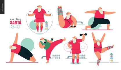 Sporting Santa - gym exercises - modern flat vector concept illustration set of cheerful Santa Claus doing aerobic and fitness exercises in the gym, wearing red sport uniform, xmas fitness activity