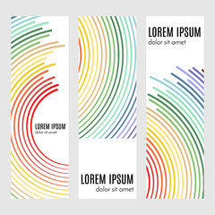 Set of abstract vertical header banners with curved lines