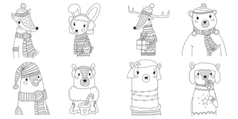 vector christmas animals silhouette collection illustration in line art with eight animals wearing winter clothes. cute xmas set with fox, bunny, reindeer, male bear, penguin, llama, female bear, dog.