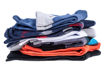 stack of men's cotton socks isolated on white background