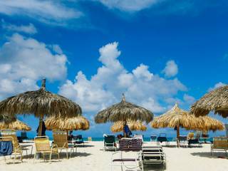 View from sun bed on beach in Aruba