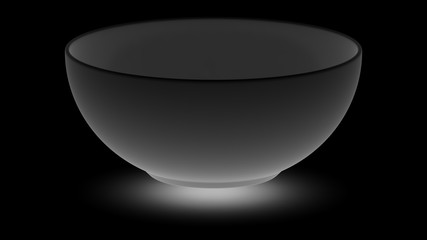 The dish on the black surface. 3D Illustration.