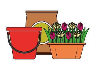 bucket and flowers in pot sack soil gardening