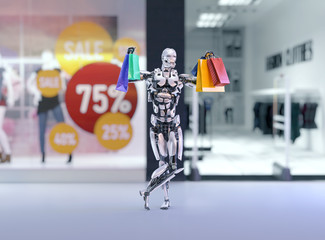 Robot android holding colorful shopping bags next to the shopping mall fashion store with sales advertising lables. Black friday concept.3D illustration