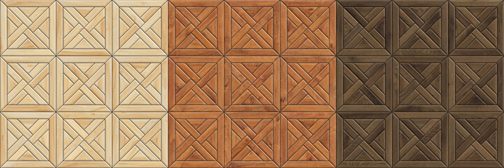 Set of high resolution seamless textures of wooden parquet. Mosaic wood patterns