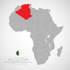 Map of Africa with the identication of Algeria. Map of Algeria. Political map of Africa in gray color. Africa countries. Vector stock.