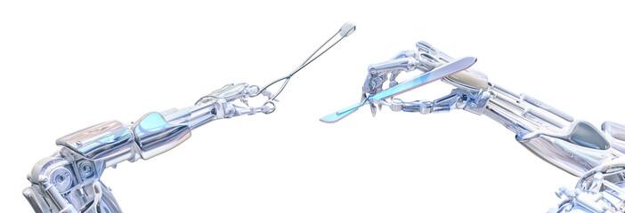 Surgeon robot hands holding surgery tools. Future robotic surgery concept. Robotic technology 3D illustration