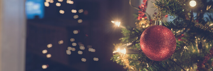 Wide view image of shiny red holiday bauble hanging on Christmas tree