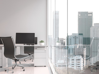 A working table located by the window 3d render,There are white floor.Furnished with black and white furniture .There are large windows look out to see the city view.
