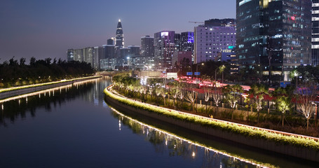 Shenzhen city, business district at night