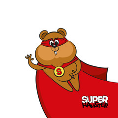 Superhero hamster. Vector image of a comic book or cartoon