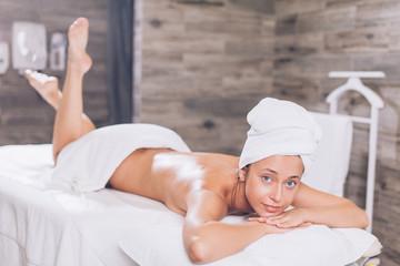 slim sexy girl in the spa center. full length photo. skin care concept
