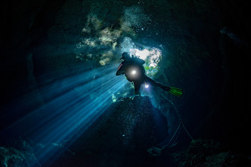 cenotes cave diving in Mexico Wall mural