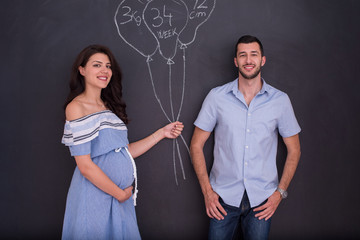 pregnant couple drawing their imaginations on chalk board