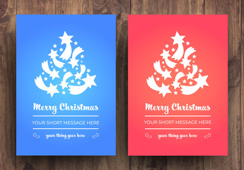 Christmas Card Layouts with Red and Blue Backgrounds