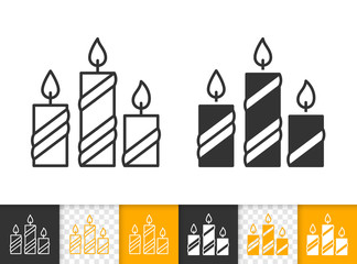 Candle Flame simple fire black line vector icon