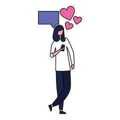 woman using mobile social media