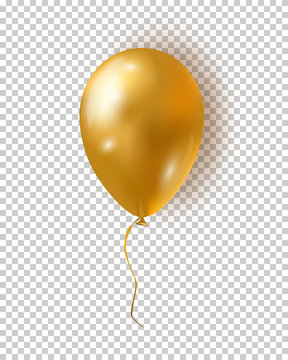 Vector glossy golden balloon. Realistic air 3d balloon isolated on transparent background.