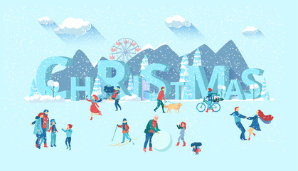 Christmas poster with people walking in winter park.